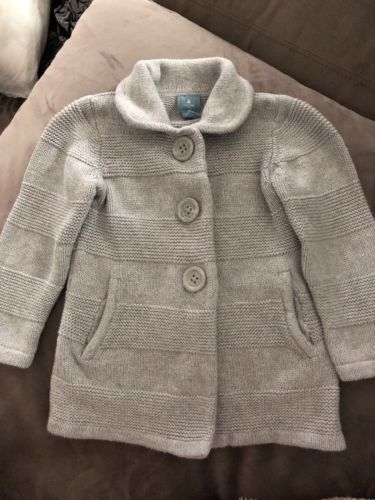 Baby Gap Gray Long Sleeve Button Front Cardigan Sweater Toddler Girls Size 2t