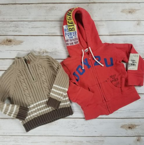 Lot of 2 Boys Cable Knit Bowen & Wright Sweater Cool Hoodie Sweatshirt Size 24 M