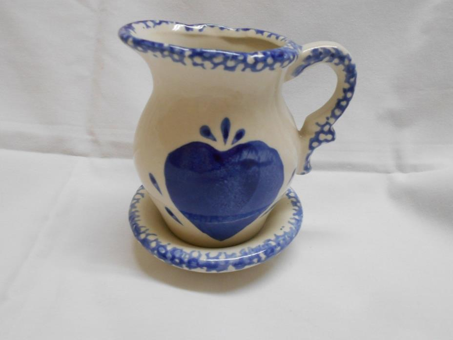 vintage blue and white sponge Heart pitcher and bowl 4