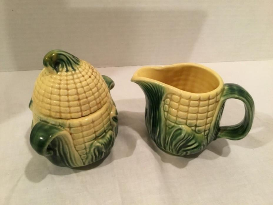 VINTAGE 1950's STANFORDWARE CORN CREAM PITCHER AND SUGAR BOWL WITH LID