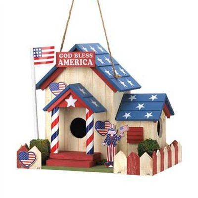Patriotic Red White Blue Wood Birdhouse