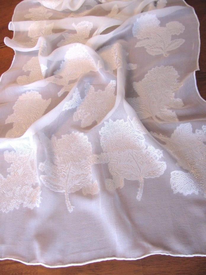 WHITE Sheer Embroidered Chrysanthemum Scarf Wedding Elegant 44