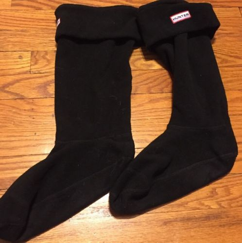 HUNTER  BOOT SOCKS FOR HUNTER BOOTS Black Fleece Size Large
