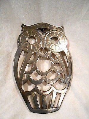 Vintage Leonard Silver plate Owl Trivet 8