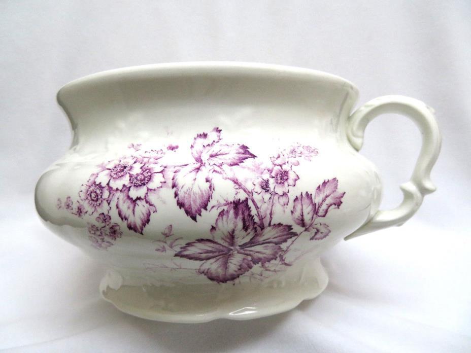 K. T. & K. Purple Floral Transfer Ware Porcelain Pottery Chamber Potty Cachepot