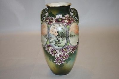 Antique Asian Vase Hand Painted Japan Landscape Trees Sunset Purple Florals