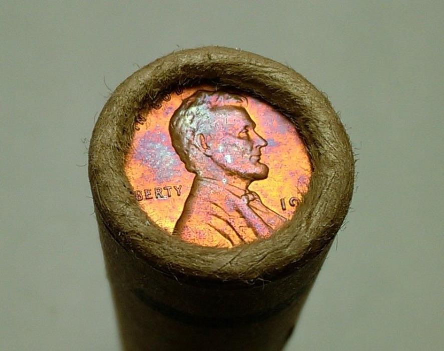 Two Rainbow Toned End Coins from an unsearched Westmont Wheat Cent Roll -- #nu30