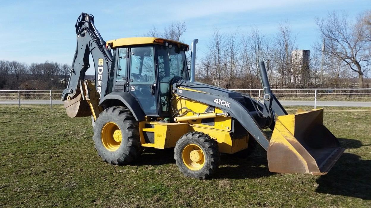 2014 John Deere 410K Backhoe Loader - 4X4, Cab, AC, Loaded, 1200 Hours