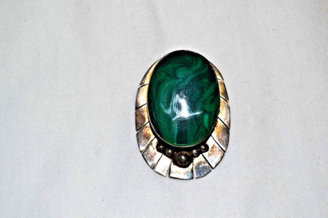 Vintage Sterling Silver Green Malachite Stone Cabochon Pin Brooch Clip Mexico