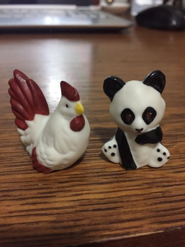 THIMBLE HANDPAINTED BISQUE KRC FIGURAL OF A PANDA BEAR AND CHICKEN HEN