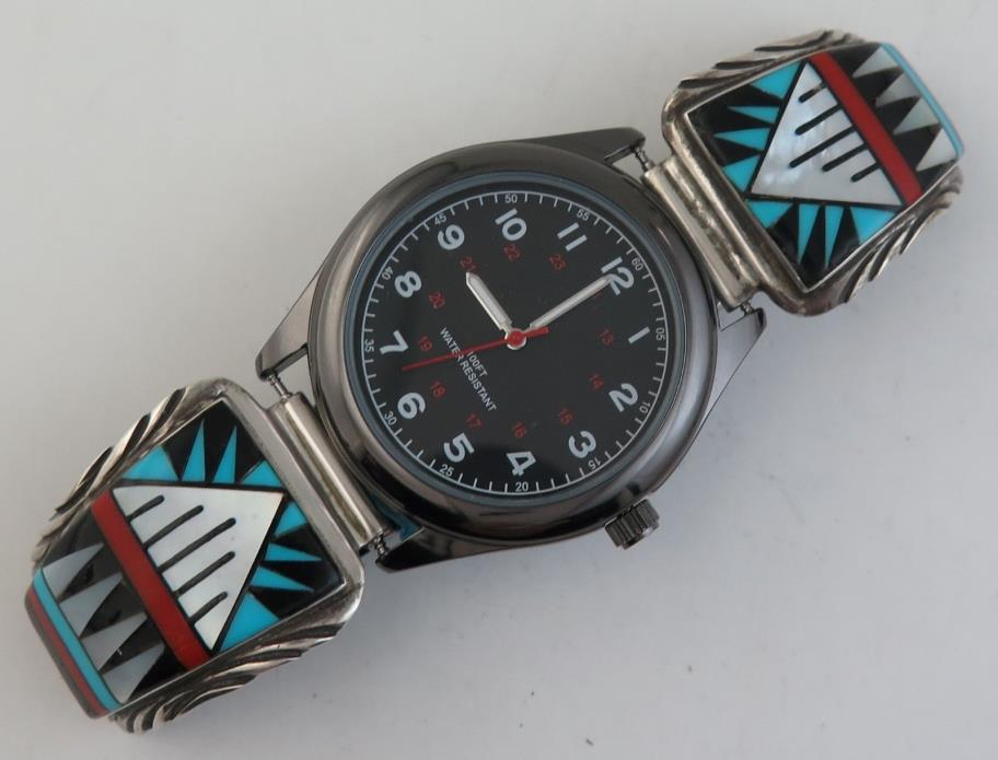 XL High Quality Sterling Silver Incredible  Mosaic Inlay Working Watch Tip Set