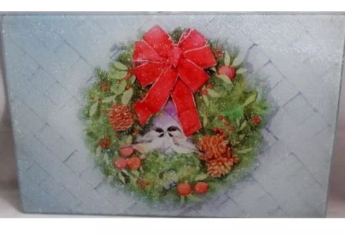 Glass Cutting Board  COLORFUL CHRISTMAS WREATH WITH 2 BIRDS