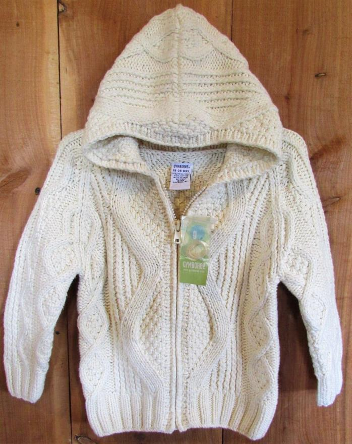 GYMBOREE New Boys Cable Knit Hooded SWEATER size 18-24M 2T Ivory Vintage NWT