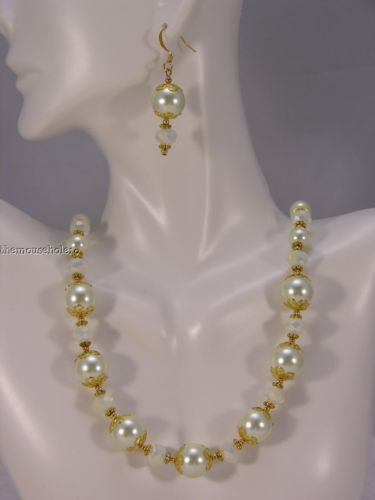 OOAK creamy pearl & faceted crystal necklace & earrings set w gold accents