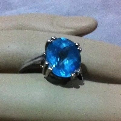 Genuine Faceted Blue Topaz Bling Ring ?? 925 STERLING SILVER 7 EUC
