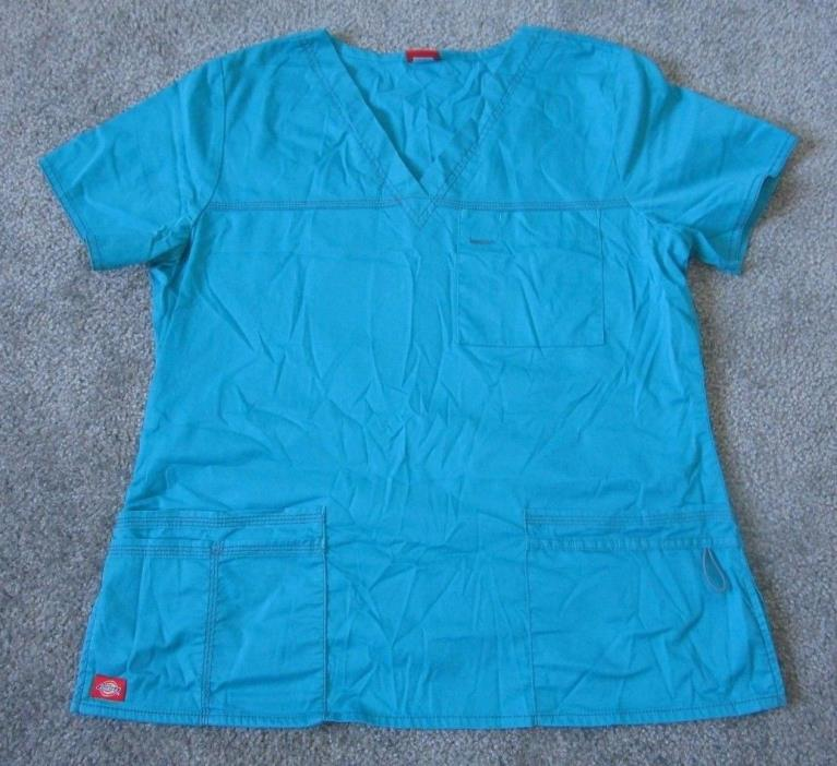 Dickies Women's Scrub Top V-Neck Size Small Sky Blue