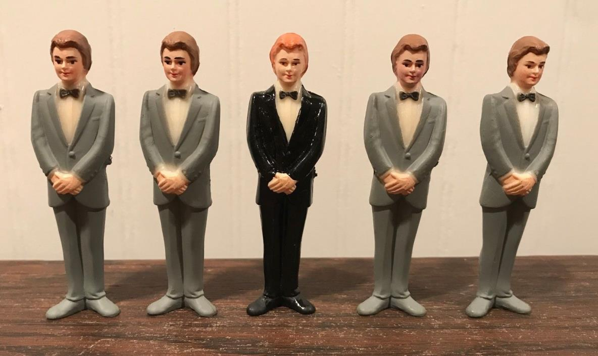 4 Vintage Wedding Groomsmen Groom Black/Gray Tux Cake Topper Decorations Lot# 37