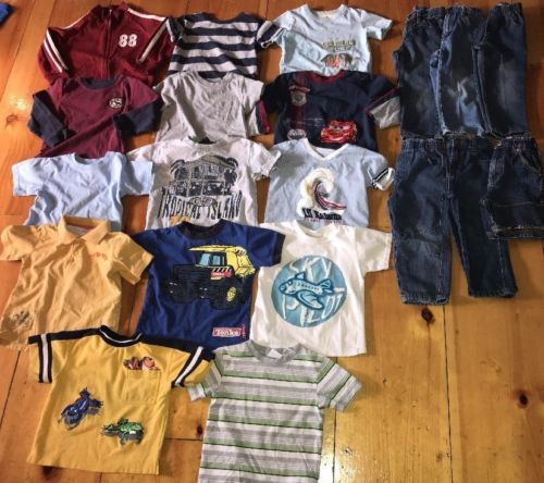 20 Piece Lot Toddler Boy 3T Mixed Play Clothes Lot 6-Bottoms 13-Tops 1-Jacket