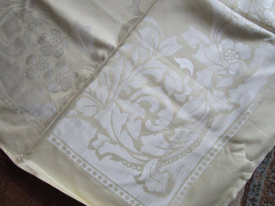Vtg UNUSED Lg Buttercream Yellow Linen DAMASK Tablecloth & 8 Napkins 74x56