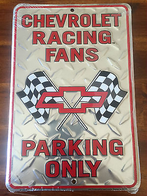 Chevrolet Racing Fans ~ Metal Novelty Parking Sign ~ Man Cave Sign