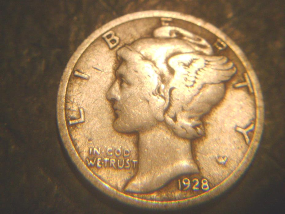 1928-D MERCURY DIME IN FINE+ CONDITION.RARE.ADD TO SET OR COLLECTION.