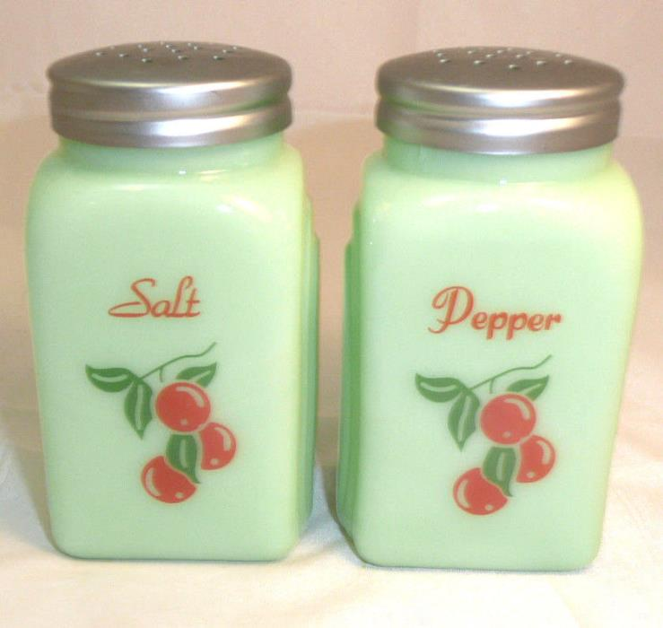 Lg. Jadite Cherry Salt & Pepper Shakers 3.75
