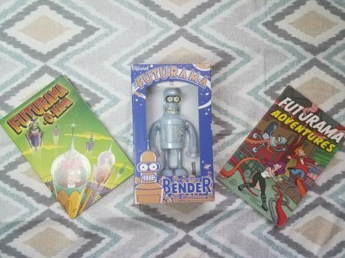 2000 Bender Wind Up Tin Robot Futurama Action Figure by Rocket USA Comic Combo