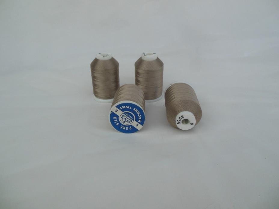 Utica Silver Gray Silk Thread Sz B Lot of 4 @ 390 Yards 8656