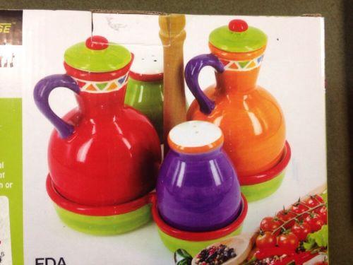 5 Piece Condiment Table Caddy Hand Painted Oil & Vinegar Salt & Pepper Ceramic