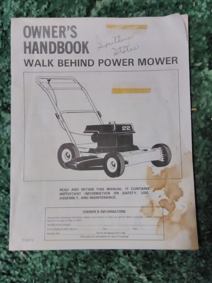 F-5612 - A New Original Operators Manual For A Walk Behind Power Mowers - 2013X