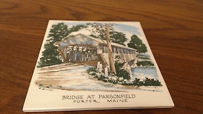 Parsonfield Covered Bridge Porter Maine Tile Trivet VINTAGE signed R Brooks  #22