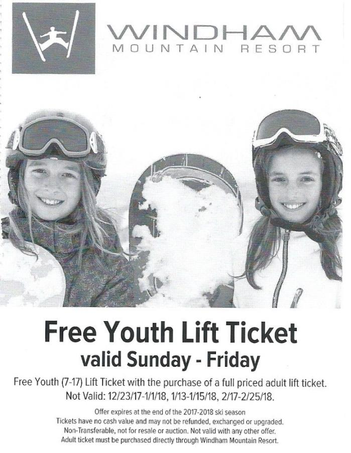 Windham NY Free Youth Ticket w adult ticket purchase valid Sunday-Friday