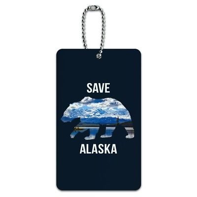 Save Alaska with Bear Mountains Water Luggage Card Suitcase Carry-On ID Tag