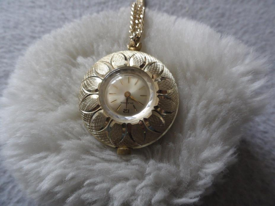 Vintage Swiss Made Splendor Wind Up Necklace Pendant Watch - Not Working