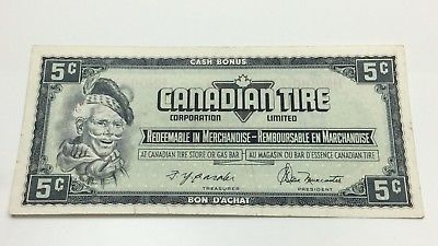 1974 Canadian Tire 5 Five Cents CTC-S4-B-HN Circulated Money Banknote D193