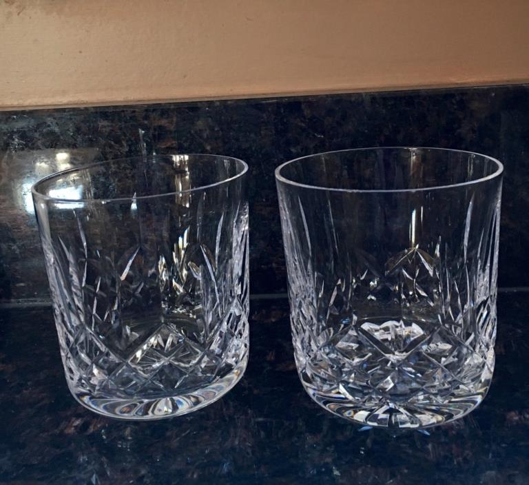 2 WATERFORD LISMORE CRYSTAL GLASS DOUBLE OLD FASHIONED TUMBLERS 4-1/4