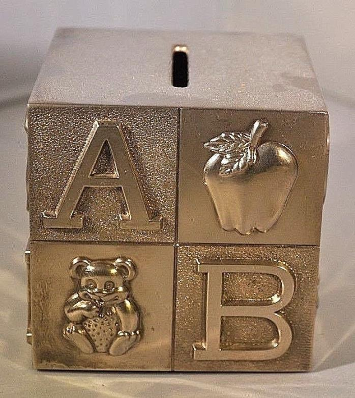 VINTAGE BABY'S SILVER PLATED PIGGY BANK ABC CUBE BLOCK CHILDREN'S COIN MONEY