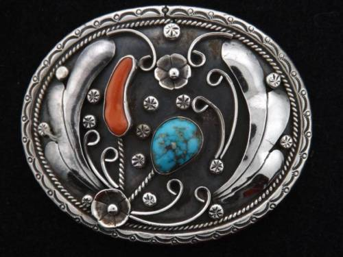 Raymond Platero RBP Signed Sterling Silver Coral Turquoise Navajo Belt Buckle