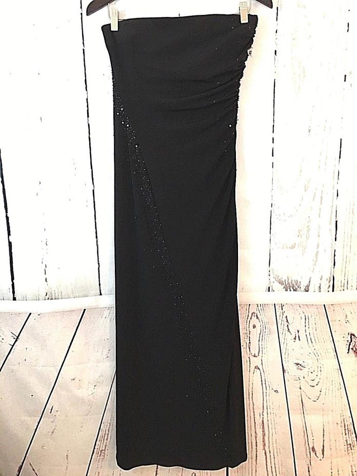 White House Black Market Women's Long Maxi Black Strapless Cocktail Gown Dress 4