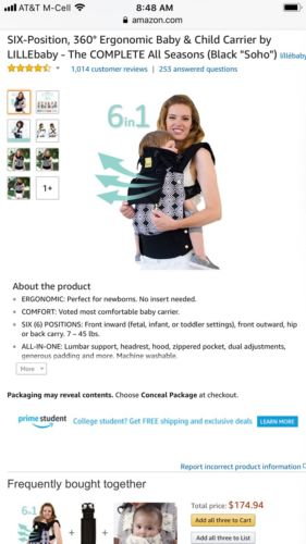 LILLEbaby 6-Position COMPLETE All Seasons Baby & Child Carrier - Soho - Preowned