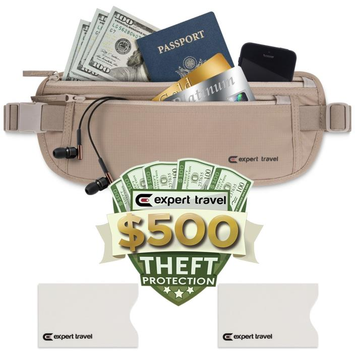 Premium Money Belt - $500 Theft Protection, RFID Blocking, 2 Credit Card Sleeves