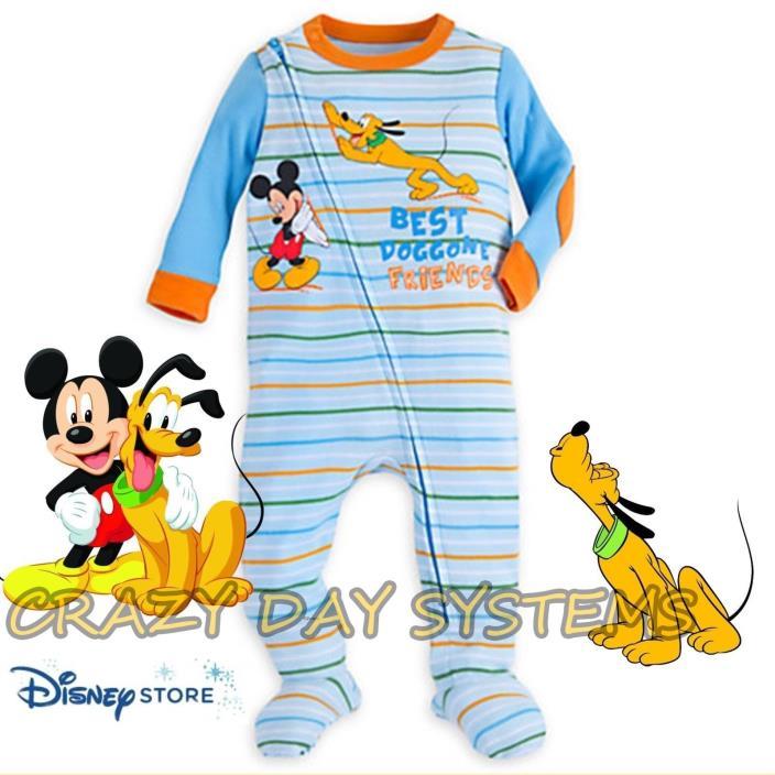 NEW Disney Store Mickey Dog tired Zipper Sleeper Pajamas Size 18-24 M Baby Boy