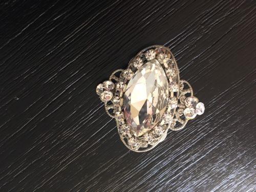 Rhinestone Silver Crystal Diamond Vintage Antique Wedding Hair Broach Clip