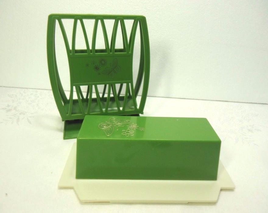 Vintage Napkin Holder Butter Dish Set Green Plastic Gold Butterflies Retro 70's