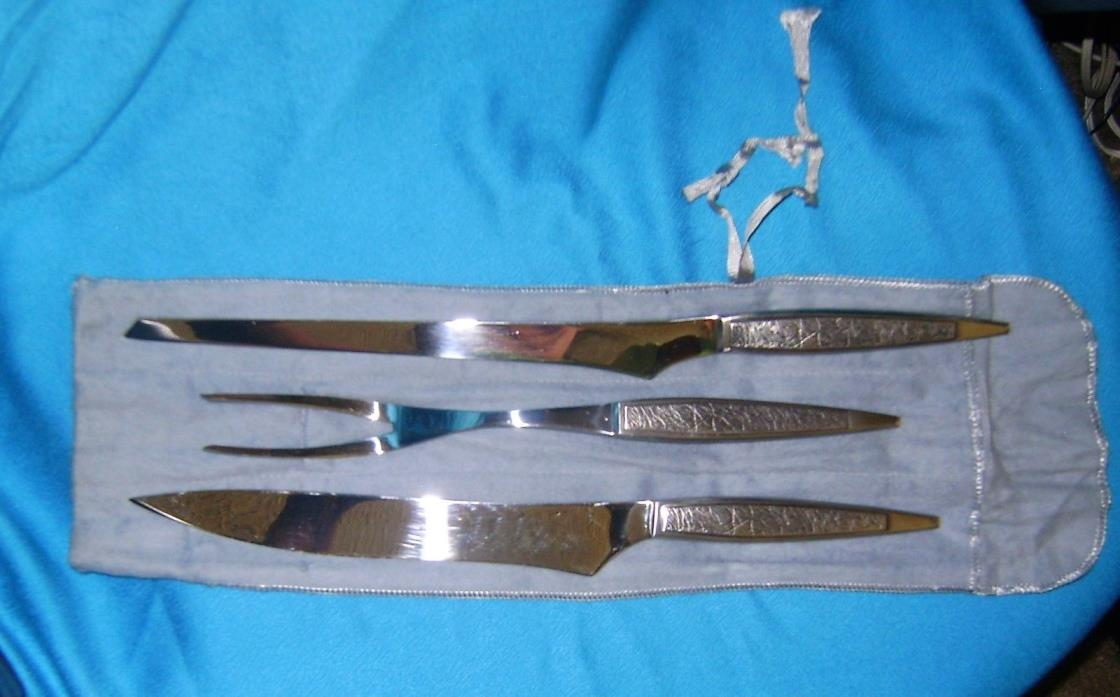 VINTAGE 3 PIECE ARTHUR SALM AS, KNIFES AND FORK CARVING SET ~ JAPAN CARVING