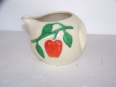 Vintage Pippin Pottery USA Apple Creamer-White-Red-Green