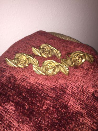 GORGEOUS 4 VINTAGE Solid Brass Rose & Leaf Napkin Rings Holders 3