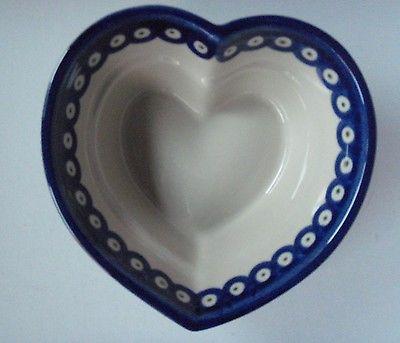 Boleslawiec Polish Pottery Heart Shaped Dish Blue with Green Dots