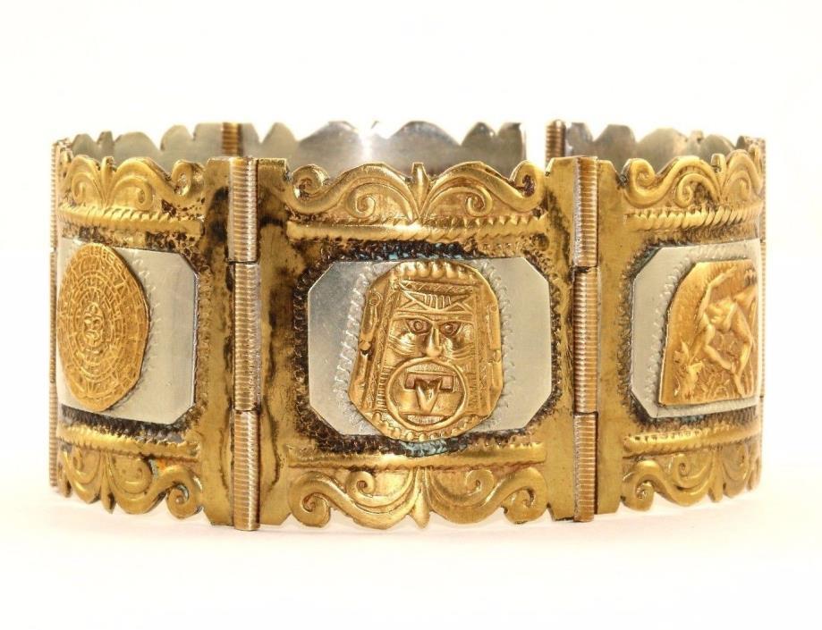 VINTAGE MEXICO AZTEC PANEL GOLD TONE BRACELET 925 STERLING & COPPER BR 452