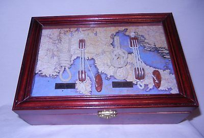 WOODEN HINGED LATCHED MEN'S BOX #3 w/ NAUTICAL KNOTS UNDER GLASS INSIDE THE LID